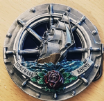 Homeward Bound Ship Belt Buckle with display stand. Code MC3